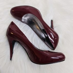 Marc Fisher Red Chocolate Patent Heels Pumps 8
